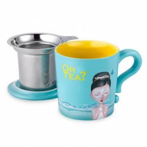 Turquoise Mug - Keramieken beker met roestvrijstalen filter